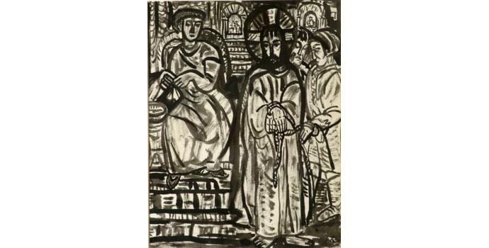 Evie Hone (1894-1955) Stations of the Cross I, c.1945 ink drawing on paper 30 x 23.5 cm IACI.2003.022D