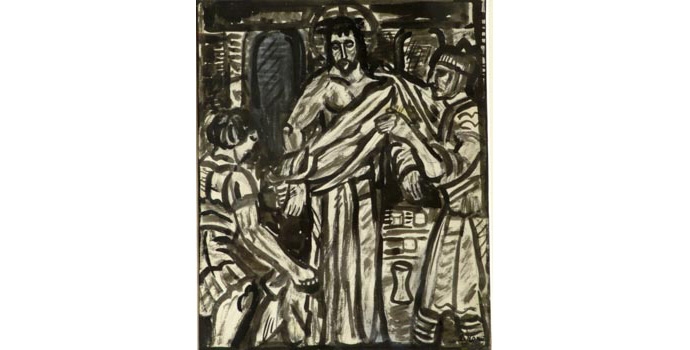 Evie Hone (1894-1955) Stations of the Cross X, c.1945 ink drawing on paper 30.5 x 23.7 cm IACI.2003.022E