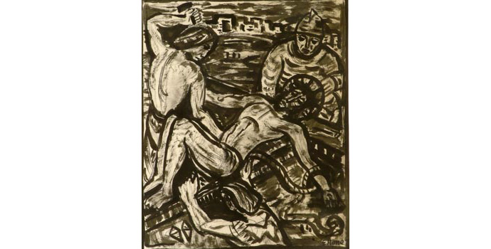 Evie Hone (1894-1955) Stations of the Cross XI, c.1945 ink drawing on paper 29.7 x 25 cm IACI.2003.022I