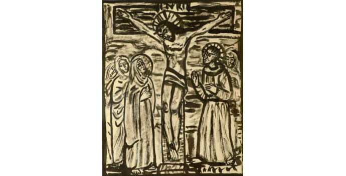 Evie Hone (1894-1955) Stations of the Cross XII, c.1945 ink drawing on paper 30.5 x 25.2 cm IACI.2003.022G