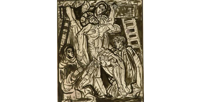 Evie Hone (1894-1955) Stations of the Cross XIII, c.1945 ink drawing on paper 30.5 x 25.2 cm IACI.2003.022G