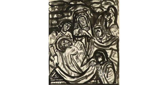 Evie Hone (1894-1955) Stations of the Cross XIV, c.1945 ink drawing on paper 30.5 x 25.2 cm IACI.2003.022G