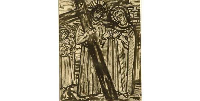 Evie Hone (1894-1955) Stations of the Cross IV, c.1945 ink drawing on paper 30.5 x 24 cm IACI.2003.022F