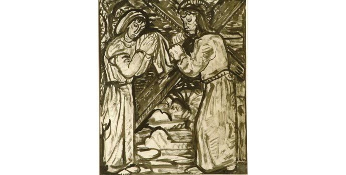 Evie Hone (1894-1955) Stations of the Cross VI, c.1945 ink drawing on paper 30 x 23.5 cm IACI.2003.022H