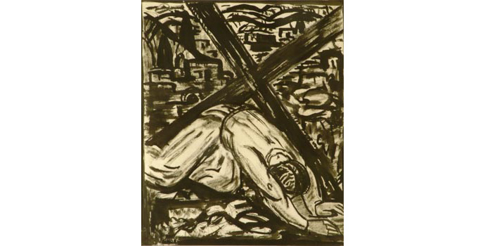 Evie Hone (1894-1955) Stations of the Cross IX, c.1945 ink drawing on paper 30.2 x 25 cm IACI.2003.022K