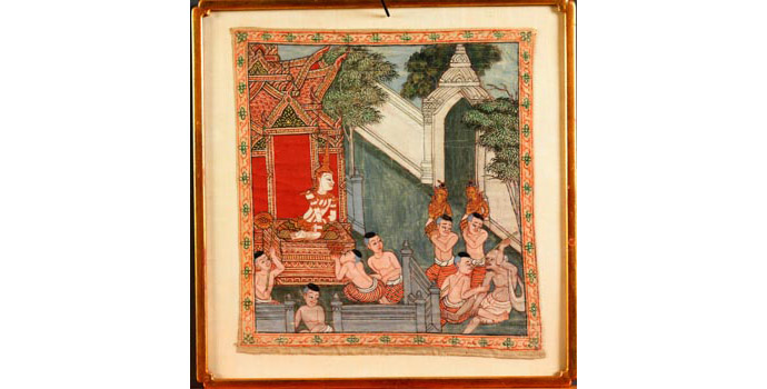 Temple Painting (Bodhisattva and attendants), Thailand - Painting on Linen, 45.4x 41.4 - ICAI.2002.003B/PA98