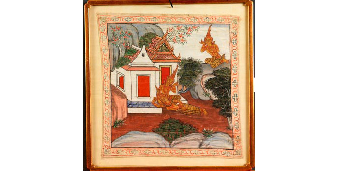 Temple Painting (Bodhisattva and attendants), Thailand - Painting on Linen, 45.5x 44 - 2002.003A/PA97