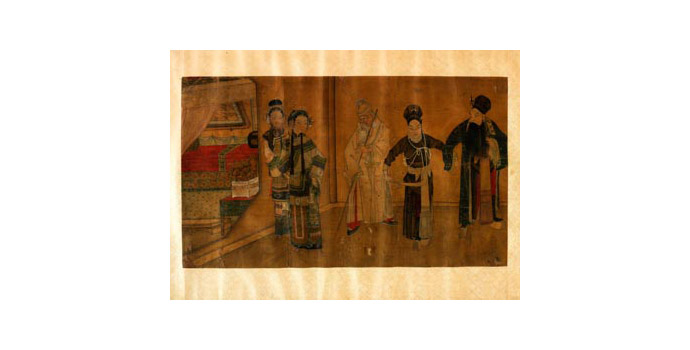 Scene in Pavilion, China - (Section of hand scroll) Painting on silk - 42 x 67.5 - 2002.012/PA100