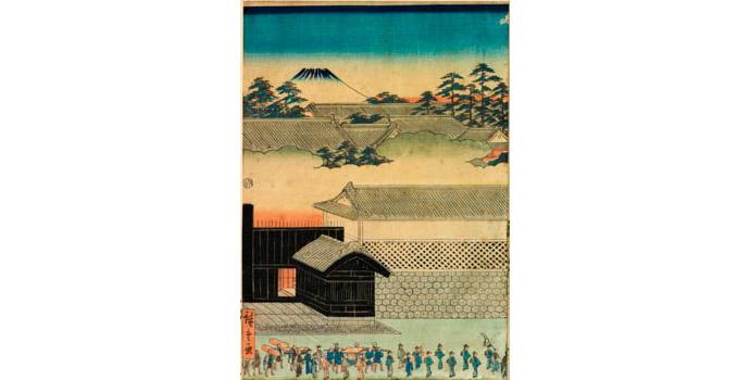 Street sceen of Edo, Hiroshige (1797-1858) - Woodblock Print - 35.7 x 24 - 2002.034B/PA106