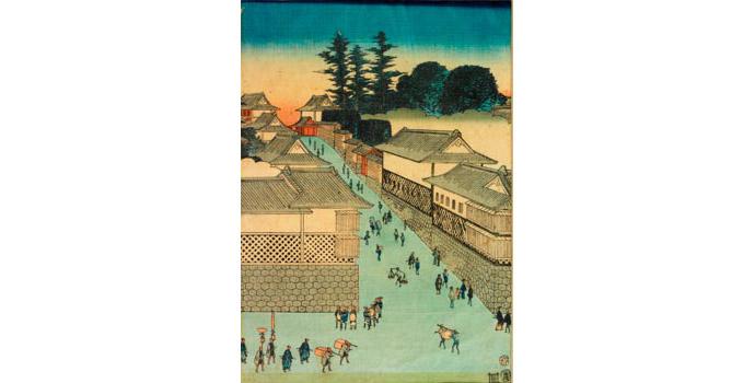 Street sceen of Edo, Hiroshige - Woodblock Print - 35.7 x 24 - 2002.034C/PA107