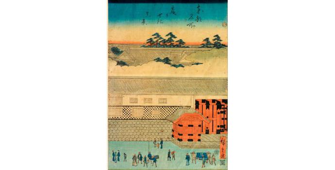 Street sceen of Edo, Hiroshige - Woodblock Print - 35.7 x 24 - 2002.034A/PA105