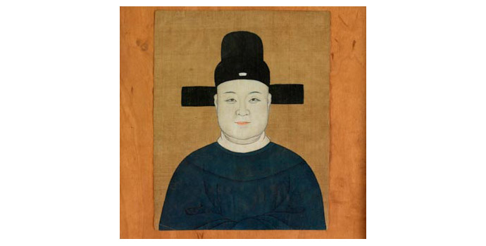 Gentleman of the Court, China - Painting on silk, 20.8 x 16.5 - Frame made from oak beams from King John's Castle, Limerick by John Raleigh as wedding gift to Helen and Ernie O' Malley - 2002.038/PA165