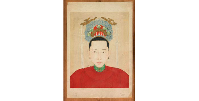 Chinese Lady in Red Costume, China - Painting on red parchment, 33 x 22.6 - Frame made from oak beams from King John's Castle, Limerick by John Raleigh as wedding gift to Helen and Ernie O' Malley - 2002.039/PA166