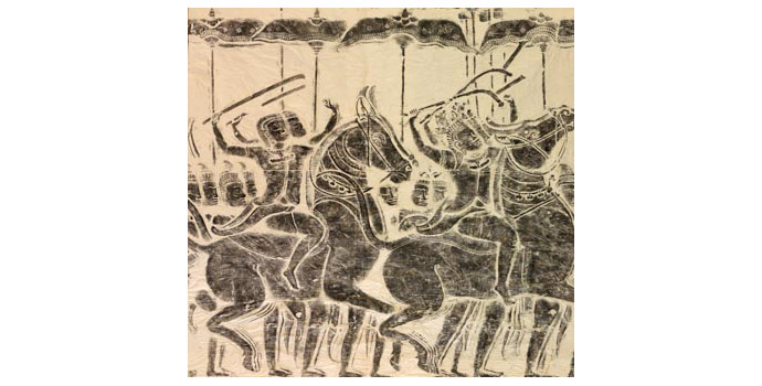 Warriors on Horseback Charging in Battle (Angkor Wat), Cambodia - Stone rubbing, 104 x 108 - 2002.040/PA121