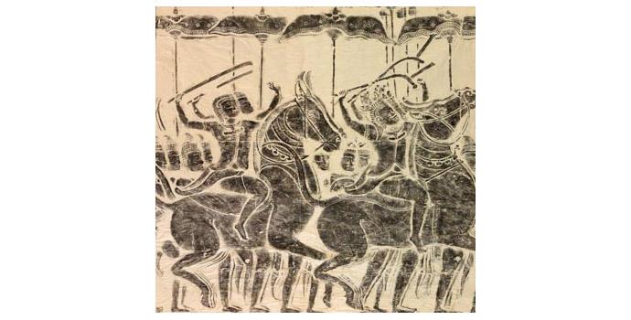 Warriors on Horseback Charging in Battle (Angkor Wat), Cambodia - Stone rubbing, 104 x 108 - 2002.040/PA121