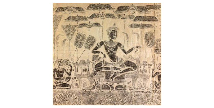 Buddah in Seated Position (Angkor Wat), Cambodia - Stone rubbing, 111.3 x 117 - 2002.041/PA122