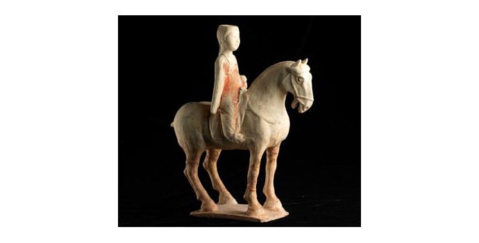 Equestrian Figure, China - Attributed to T'ang dynasty - Ceramic - 2002.075/SA18
