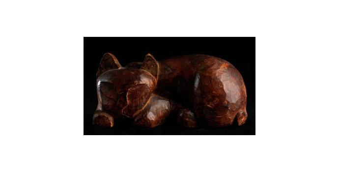 Kitten, Japan - Teak Sculpture - 2006.022/SA74