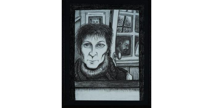 Jean Regan - Reflections, 2009. Ink and conté on paper 72 x 56cm,NSPCI.2012.486