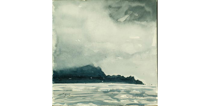 Jean Clyne (1963-), Cliffs of Achill with rain and mist descending, Black Sod Bay, North Mayo 2005. Watercolour on paper, 32.5 x 31.5 cm, WCSAI 2006
