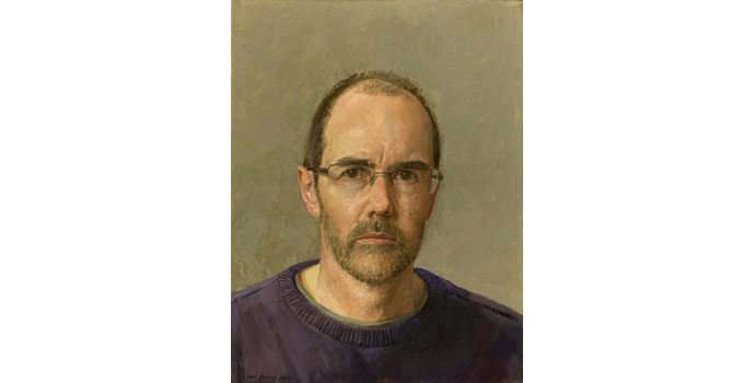 Joe Dunne R.H.A - Self-Portrait 2014 Oil on Gesso Panel 39.5 x 30cm, NSPCI.2014.486.