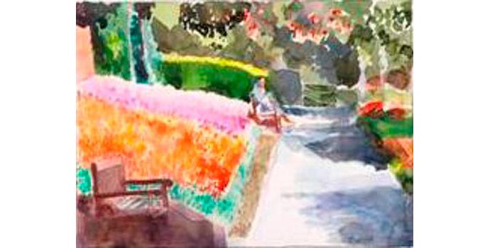 John Coyle RHA (1928-), The Peoples Park Dun Laoghaire 2006. Watercolour on paper, 30 x 40 cm, WCSI