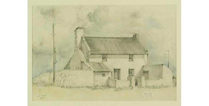 Ken Clarken (1931-), White Farm-House, Wexford, 1984. Pencil and watercolour on paper, 35 x 53 cm, WCSI.1984