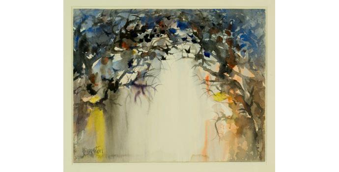 Richard Kingston, Birds Above a Wet Road. Watercolour on paper, 36.5 x 45.5 cm, WCSI.1995
