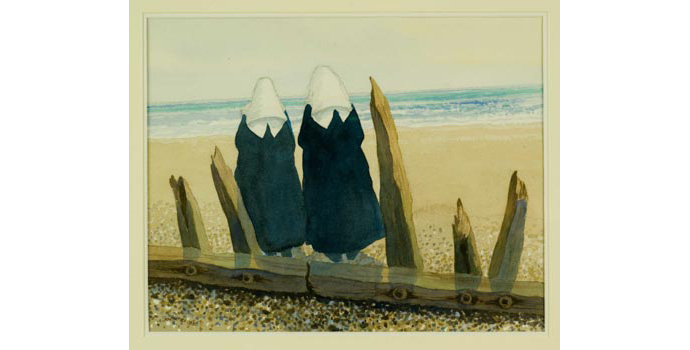 James McIntyre (1926-), Nuns by the Seashore, 1993. Watercolour on paper, 35 x 44 cm, WCSI.1993