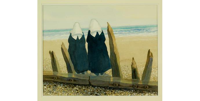 James McIntyre (1926-), Nuns by the Seashore, 1993. Watercolour on paper, 35 x 44 cm, WCSI.1993