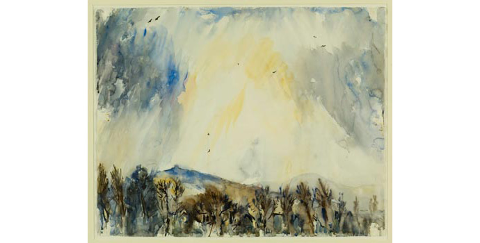 Anthony Malin (1933-), Evening Sun, Hell Fire Club from St.Mary's, Dublin 6, 1993. Watercolour on paper, 51 x 63.5 cm, WCSI.1993