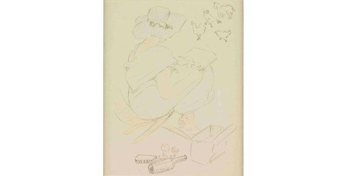Mary Swanzy HRHA (1882-1978), Self Portrait. Pencil on paper 24 x 20cm, NSPCI.2009.437.