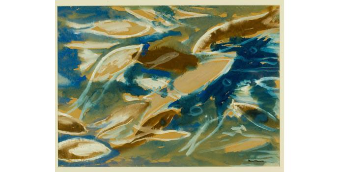 Max Maccabe (1917-) Fishes. Watercolour on card, 43 x 59.5 cm, WCSI.1987