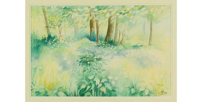 Muriel Byrne-Goggin (1937-), Stillness of Summer, 1993. Watercolour on paper, 33 x 51 cm, WCSI.1993