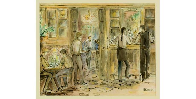 Niamh Keenan (1934-), Dublin can be Heaven, 1993. Watercolour on paper, 39 x 49 cm, WCSI.1993