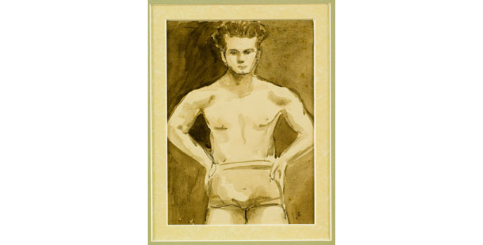 Gerard Dillon (1916-1971), Self-Portrait. Ink on paper 22 x 21cm, NSPCI.2007.413.