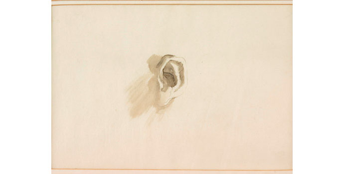 William Orpen (1878-1931), The Artists Ear. Pencil and ink on paper 10.5 x 15 cm, NSPCI.2008.425.
