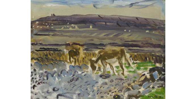 Nano Reid (1905-1981) Donkeys on the Aran Shore, c.1945 oil on canvas 29.5 x 39.5 cm IACI.2003.025