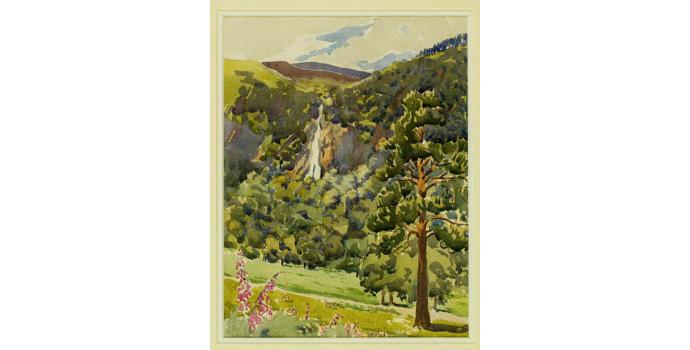 Norah Dickson (1903-1993), Powerscourt Demesne, 1935. Watercolour on paper, 28.5 x 22 cm, WCSI.1935