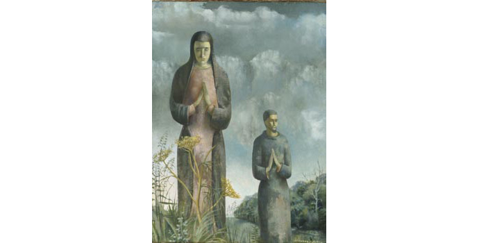 Patrick Hennessy (1915-1980) Religious Figures, c.1945 oil on canvas 39.4 x 29.2 cm IACI.2003.030