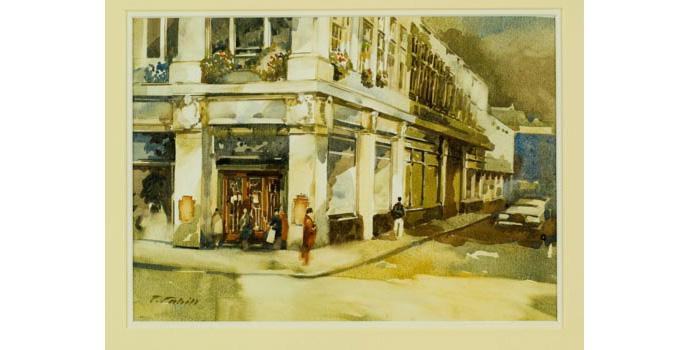 Patrick Cahill (1954-), Scene in Dublin, 1993. Watercolour on paper 24 x 35 cm, WCSI.1993