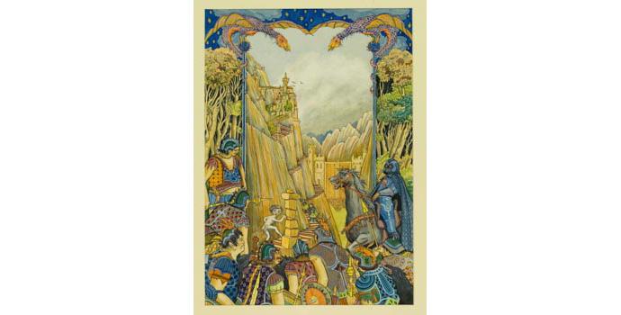 Pamela Leonard (1940-), The Stairs of Cirith Ungal. Watercolour on paper, 53.5 x 37.5 cm, WCSI.1998