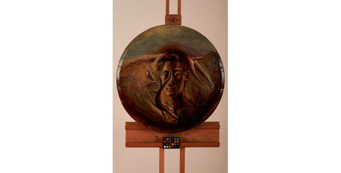 Paki Smith, Me, 1987. Oil and varnish on wooden boards, NSPCI.2012.472.