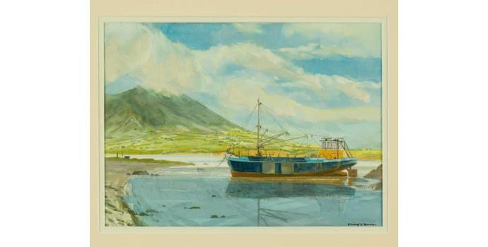 Philip Y. Davies, Mussel Dredger. Watercolour on paper, 24 x 33 cm, WCSI.2000