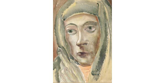 Robert Burke (1901-1991) Head of a Peasant, 1938 watercolour on paper 32.5 x 23.3 cm IACI.