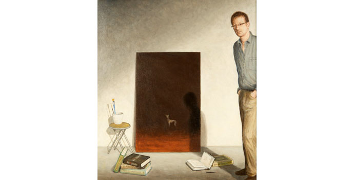 Robet Ryan (1963-), Self Portrait with Encounter, 2011. Oil on canvas over board 70 x 63cm, NSPCI.2011.455.