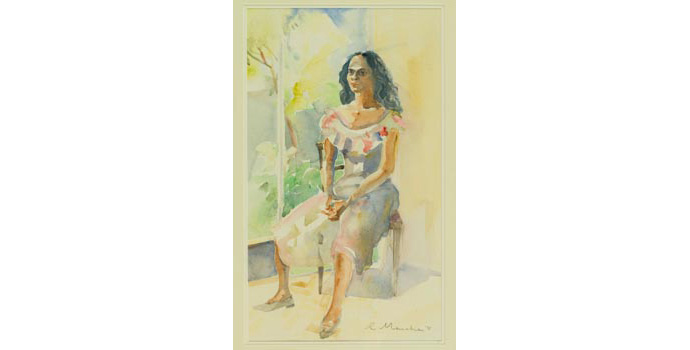 Rosita Manahan (1935-) Elea, 1993. Watercolour on paper, 51.5 x 30cm, WCSI.1993