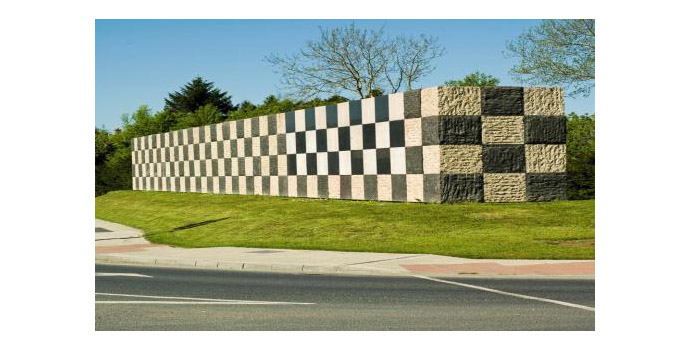 Crann Saoilse, Sean Scully. Wall of Light - Portuguese Limestone (white) and Chinese Basalt (black) 30.5 x 3 x 2.5m - Located at Main Entrance
