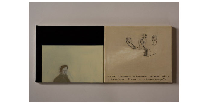 Simon English, Self Portrait, 2012. Oil and graphite on gresso 25 x 60cm diptych, NSPCI.2012.463.