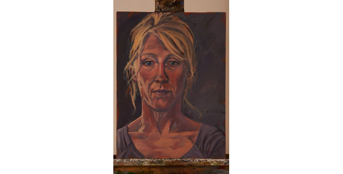 Tracey Quinn - Self Portrait, 2013. Oil on canvas on board 40.5 x 30.5cm, NSPCI.2012.485